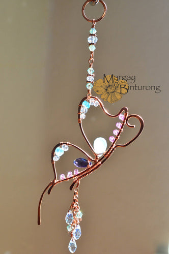 Sparkly small Butterfly suncatcher with crystals, Swarovski Crystal rear view mirror ornament