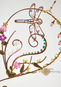 Garden Dragonfly Suncatcher Made From Wire and Swarovski Crystal