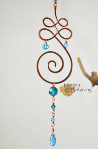 Tranquility Unalome Suncatcher Made with Swarovski Crystal Elements