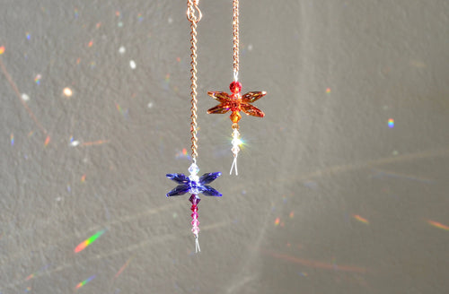 The Cutest Tiny Dragonfly Ornaments: Suncatchers made from Swarovski Crystals