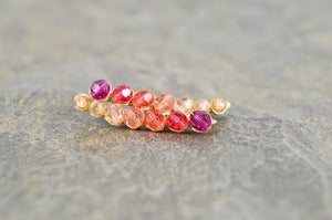 Ruby Grapefruit ombré Crystal Ear Climbers in Sterling Silver or 14k Gold Fill, ear crawler earrings