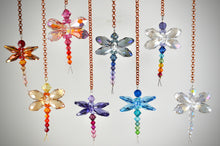 Load image into Gallery viewer, Tiny Dragonfly rear view mirror car charms: Rainbow Suncatchers made from Swarovski Crystals