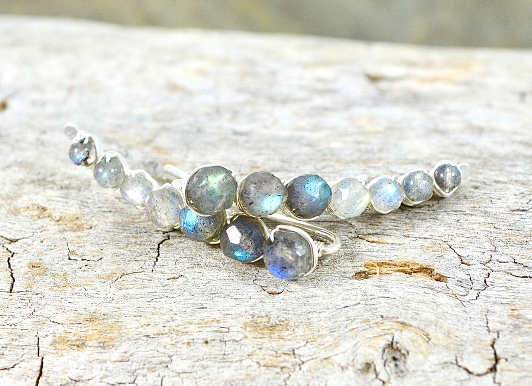 Labradorite Ear Climbers in Sterling Silver or 14k Gold Fill, gemstone earrings