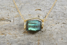 Load image into Gallery viewer, Raw Labradorite nugget necklace in Sterling Silver or 14k Gold Filled, Raw gemstone crystal jewelry
