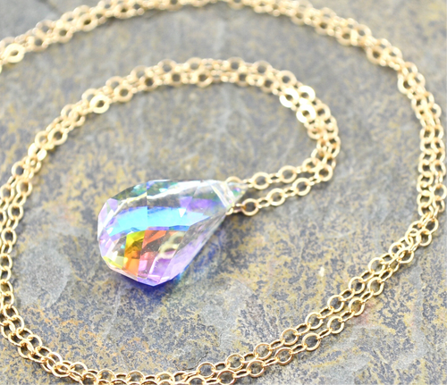 Unicorn Tears necklace, Rainbow Clear Swarovski Crystal in 14k Gold Fill