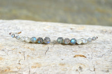 Load image into Gallery viewer, Labradorite Ear Climbers in Sterling Silver or 14k Gold Fill, gemstone earrings