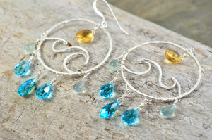 Wave earrings in Sterling Silver, ocean waves beach surf chandelier hoops, November Birthstone