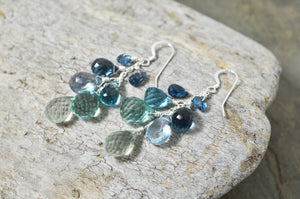 London Blue Topaz Kyanite Waterfall Cluster earrings