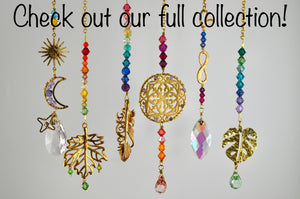 Mandala Rearview Mirror Car Charm, boho Swarovski Crystal auto decoration accessories
