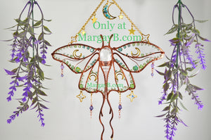 Luna Moth Moon Stars Suncatcher, boho witchy room decor rainbow maker with raw crystal points