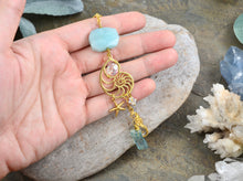 Load image into Gallery viewer, Boho Seashell Rearview Mirror Car Charm, Amazonite Aqua Aura Quartz point car crystal accessory with starfish and seahorse