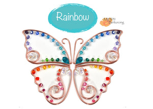 DIY Suncatcher Craft Kit for Adults, Blue Morpho Monarch Butterfly easy long beginner project rainbow crystals