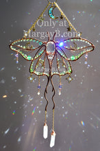 Load image into Gallery viewer, Luna Moth Moon Stars Suncatcher, boho witchy room decor rainbow maker with raw crystal points