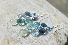 Load image into Gallery viewer, London Blue Topaz Kyanite Waterfall Cluster earrings