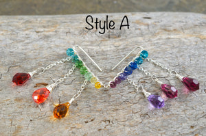 Rainbow Crystal dangly Ear Climbers in Sterling Silver or 14k Gold Fill, asymmetrical Swarovski Crystal lgbtq pride ombré earrings