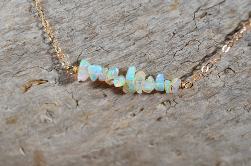 Raw Opal Necklace, Ethiopian Opal nuggets in Sterling Silver or 14k Gold Filled