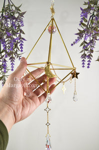 """Intuition"" Sacred Geometry Sun, Moon, and Stars Suncatcher and Air Plant Holder"