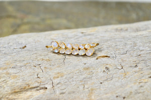 Rainbow Moonstone Ear Climbers in Sterling Silver or 14k Gold Fill, June Birthstone earrings