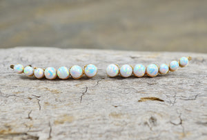 White Opal Ear Climbers, in Sterling Silver or 14k Gold Filled