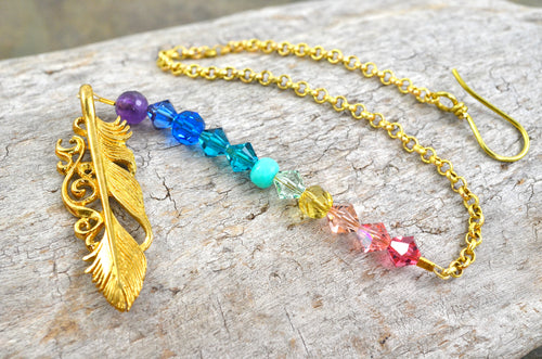Boho Feather Rearview Mirror Car Charm, Rainbow Gemstone gold Swarovski Crystal auto decoration accessories