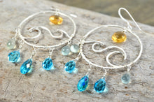 Load image into Gallery viewer, Wave earrings in Sterling Silver, ocean waves beach surf chandelier hoops, November Birthstone