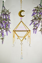 "Load image into Gallery viewer, ""Dreamscape"" Sacred Geometry Sun, Moon, and Stars Sun Catcher and Air Plant Holder"