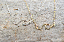 Load image into Gallery viewer, Wave necklace in Sterling Silver or 14k Gold Filled, ocean beach surf jewelry