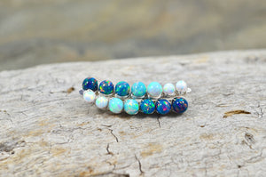 Blue White Opal Ear Climbers, in Sterling Silver or 14k Gold Filled