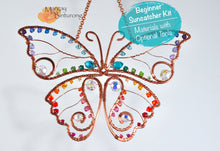 Load image into Gallery viewer, DIY Suncatcher Craft Kit for Adults, Blue Morpho Monarch Butterfly easy long beginner project rainbow crystals