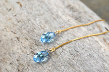 Load image into Gallery viewer, Long Crystal Ear Threaders in Sterling Silver or 14k Gold Filled; Choose your color