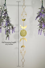 Load image into Gallery viewer, Vertical Wall Hanging Sacred Geometry Moon Phases, gold Boho Crescent Moon room decor witchy