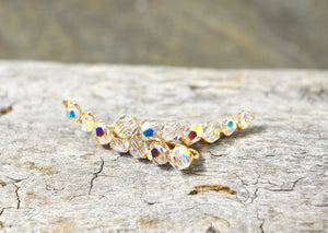 Rainbow Clear Crystal Ear Climbers in Sterling Silver or 14k Gold Fill, Swarovski Crystal ear crawler earrings