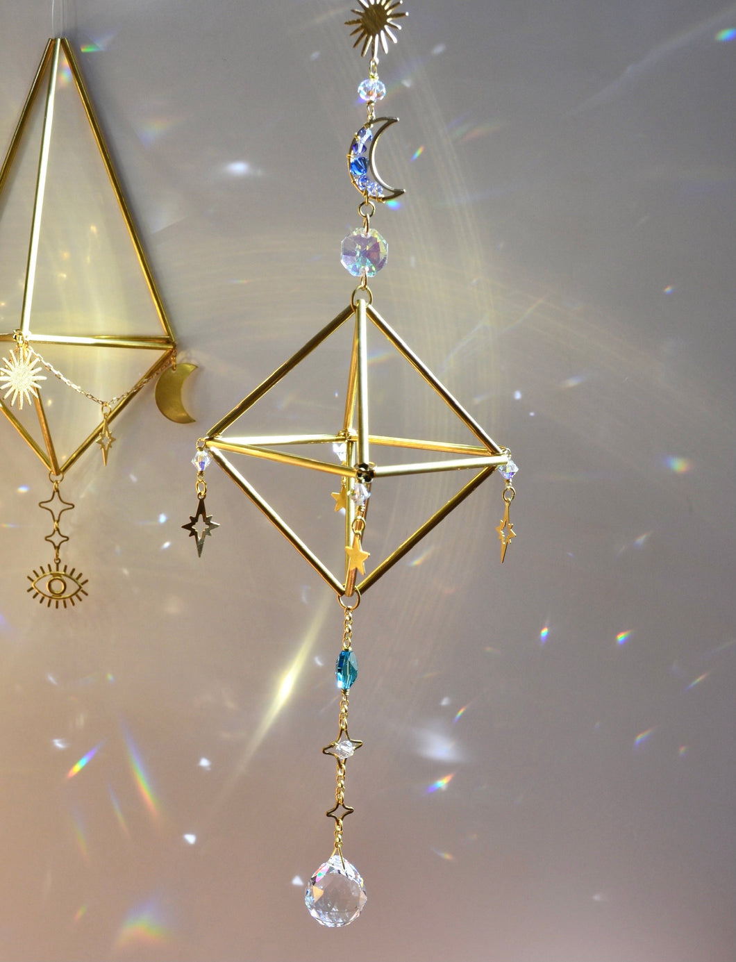 Mini Sacred Geometry Sun, Moon, and Stars Suncatcher, Air Plant Holder or Gemstone Rock Holder Boho room decor witchy crystal rainbow maker