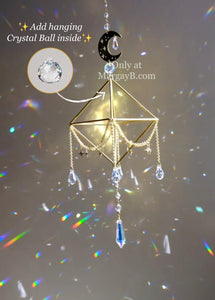 """Dreamscape"" Sacred Geometry Sun, Moon, and Stars Sun Catcher and Air Plant Holder"