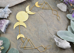 Vertical Wall Hanging Sacred Geometry Moon Phases, gold Boho Crescent Moon room decor witchy