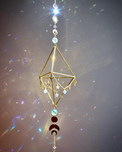 Sacred Geometry Sun, Moon, and Stars Suncatcher, Air Plant Holder or Gemstone Rock Holder Boho room decor witchy crystal rainbow maker