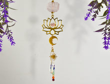 Load image into Gallery viewer, Lotus Chakra Rearview Mirror Car Charm, Rose Quartz Aura Quartz point Sun Moon car crystal accessories