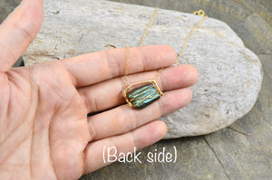 Raw Labradorite nugget necklace in Sterling Silver or 14k Gold Filled, Raw gemstone crystal jewelry