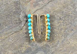 Turquoise Ear Climbers in Sterling Silver or 14k Gold Fill, December Birthstone gemstone earrings