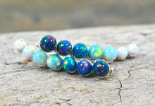 Load image into Gallery viewer, Blue White Opal Ear Climbers, in Sterling Silver or 14k Gold Filled