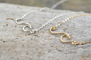 Wave necklace in Sterling Silver or 14k Gold Filled, ocean beach surf jewelry