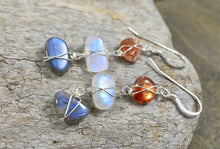 Load image into Gallery viewer, Rainbow Moonstone Sunstone Labradorite earrings, raw gemstone jewelry