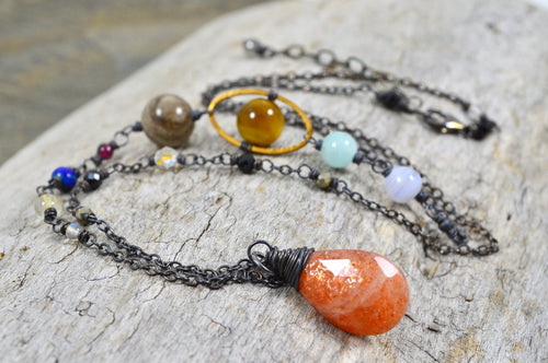 Solar System Necklace made with gemstones in Sterling Silver