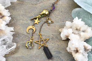 Raven Skull Moon Stars Rearview Mirror Car Charm, dark witchy room decor Black Tourmaline gothic car accessories