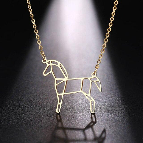 Collier Cheval Origami Or