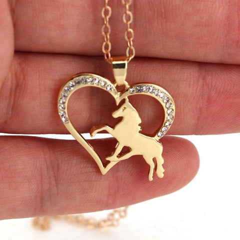 Collier Cheval Coeur Or