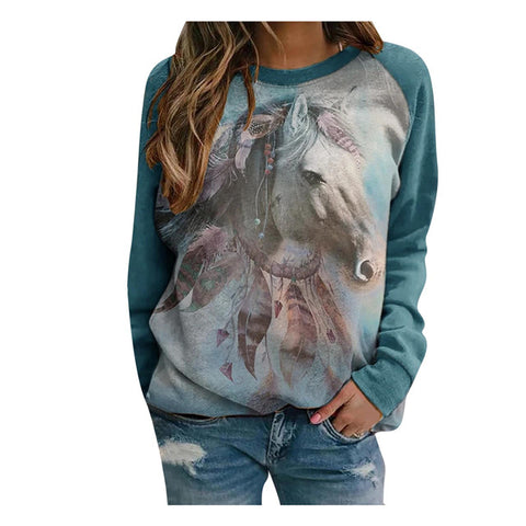 Sweat Fille Motif Cheval