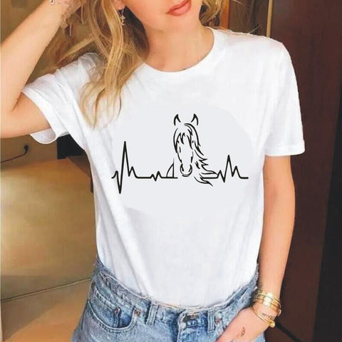 T-Shirt Cheval<br> Effet Cardiogramme