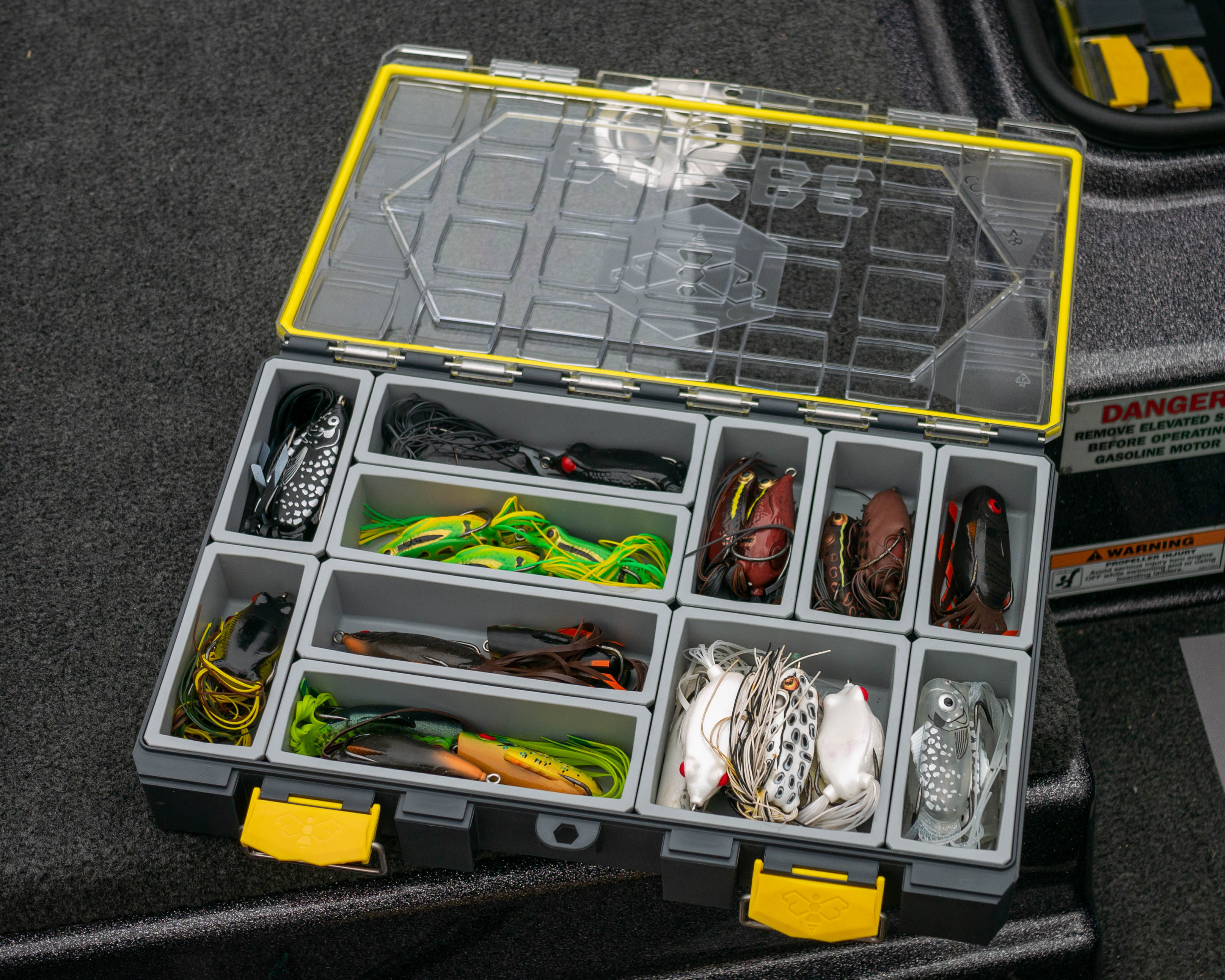 Frog Layout inside of a BUZBE Colony 28 Modular Tackle Box
