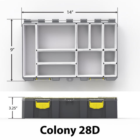 "Colony 28D Dimensions - 14"" x 9"" x 3.25"""